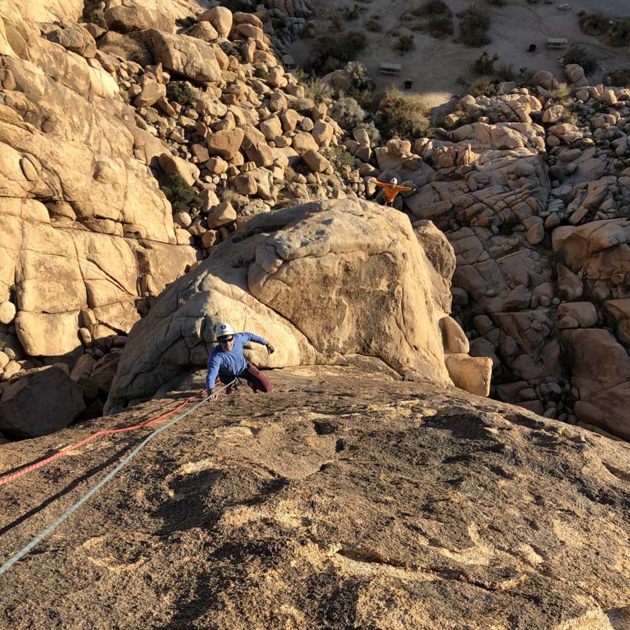 Multi-pitch climbing in Indian Cove