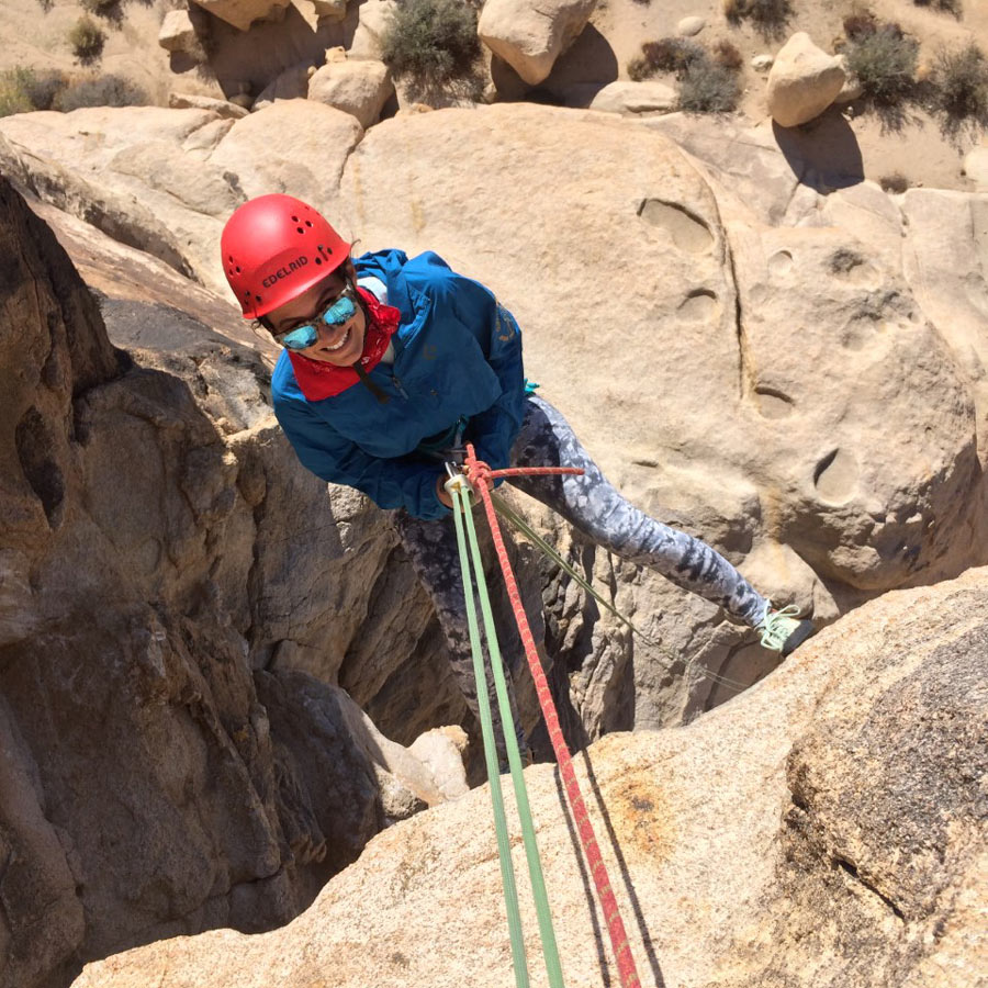 A practice rappel, with top-belay